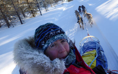 Taking a selfie on dog sled